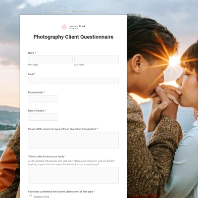 Portrait photography contract cover page